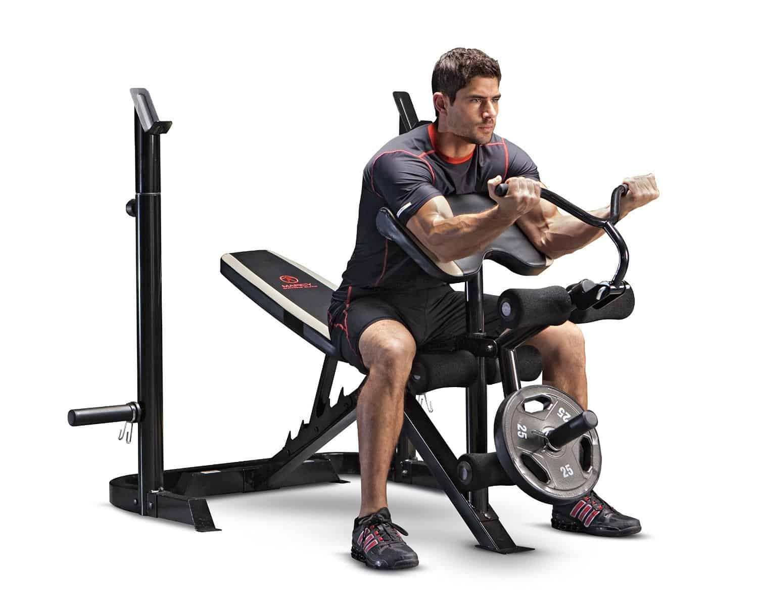 Marcy Adjustable Olympic Workout Bench with Leg Developer and Squat Rack