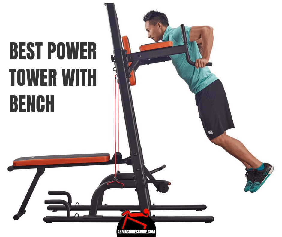 Find the best power tower with adjustable bench for you. This multifunction home workout equipment lets you have complete strength training. #homegym #powertower